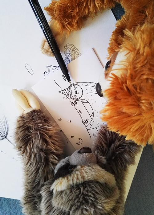 Kuscheltier Faultiere malen auf Papier
