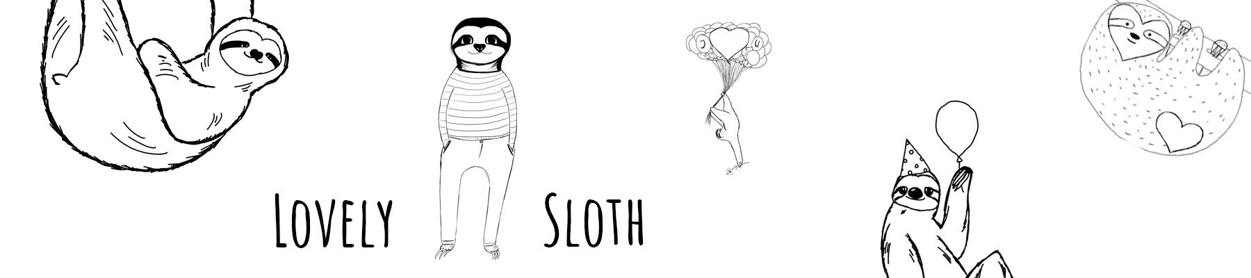 Lovely Sloth Headerbild schwarz weiss