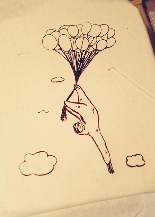 Siebdruck Luftballon Motiv
