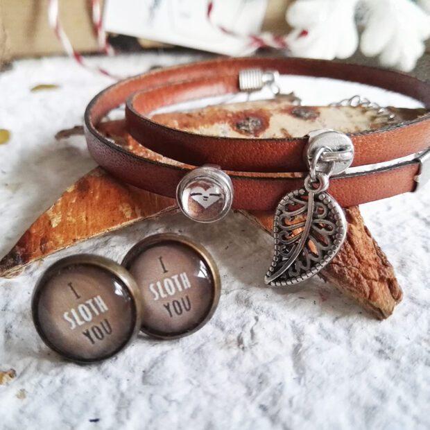 Faultier Schmuckset Lederarmbad mit Blattanhänger, Bronze Ohrringe I Sloth You braun