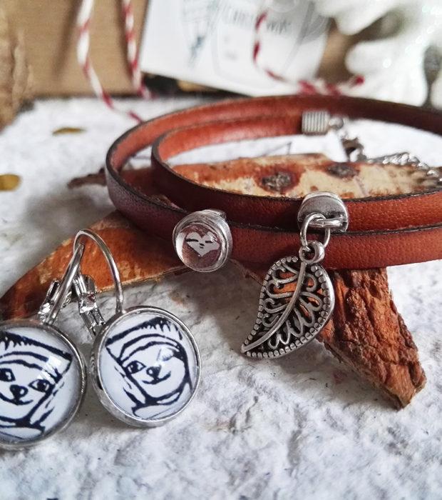 Faultier Schmuckset Lederarmbad mit Blattanhänger, Silber Ohrringe Lovely Sloth Logo