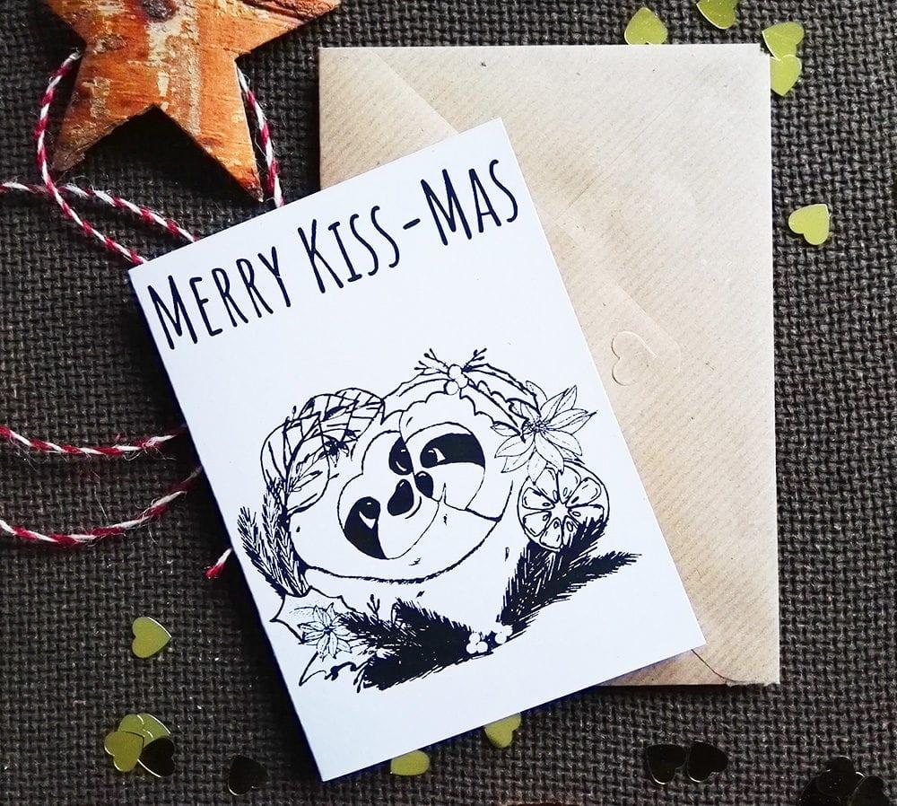 Merry Kissmas Karte mit Umschlag