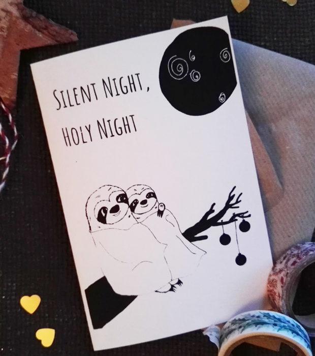 Silent Night Weihnachtskarte mit Briefumschlag