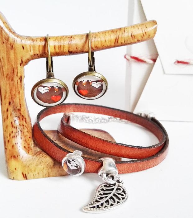Faultier Armband Ziegenleder braun mit Blattanhänger und Faultier Ohrringen Bronze komplettset