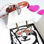 Faultier Armband Ziegenleder braun mit Blattanhänger und Faultier Ohrringen Bronze komplettset innen