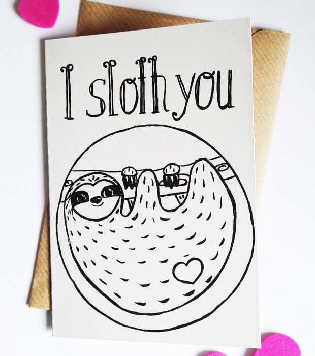 Faultier Klappkarte Liebeskarte Faultier I sloth you Siebdruck frontal
