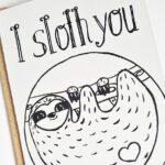 Faultier Klappkarte Liebeskarte Faultier I sloth you Siebdruck nah