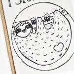 Faultier Klappkarte Liebeskarte Faultier I sloth you Siebdruck nah unten