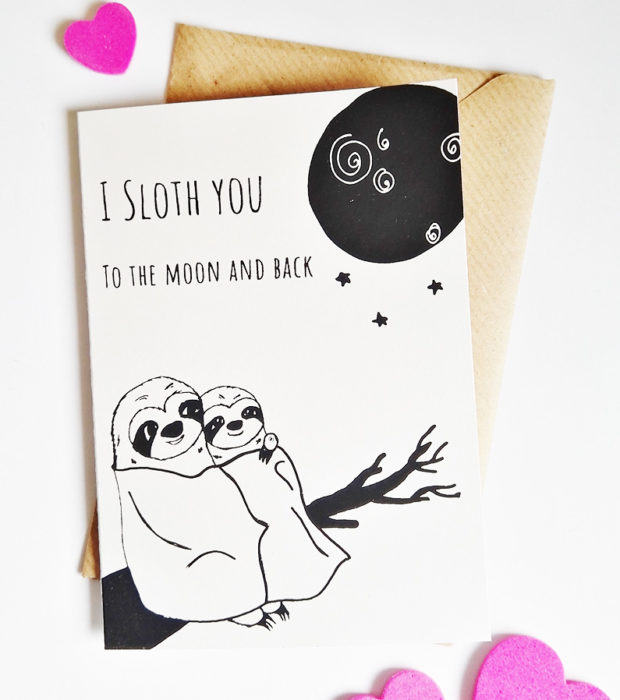 Faultier Klappkarte Liebeskarte Faultier I sloth you to the moon and back Siebdruck frontal