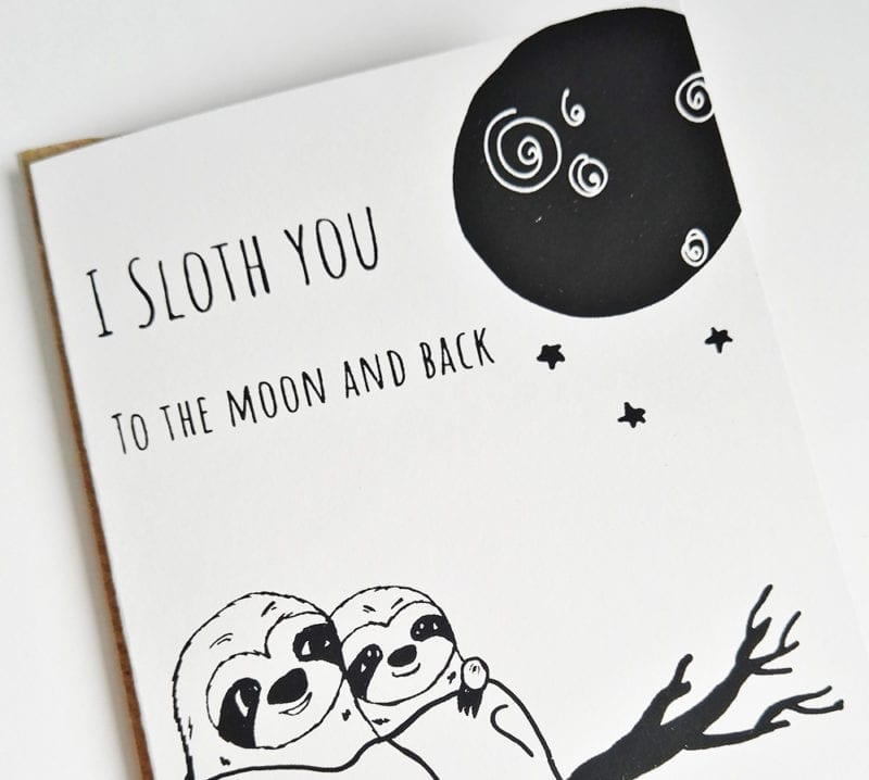 Faultier Klappkarte Liebeskarte Faultier I sloth you to the moon and back Siebdruck nah