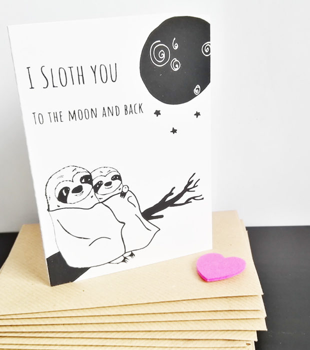 Faultier Klappkarte Liebeskarte Faultier I sloth you to the moon and back Siebdruck stehend