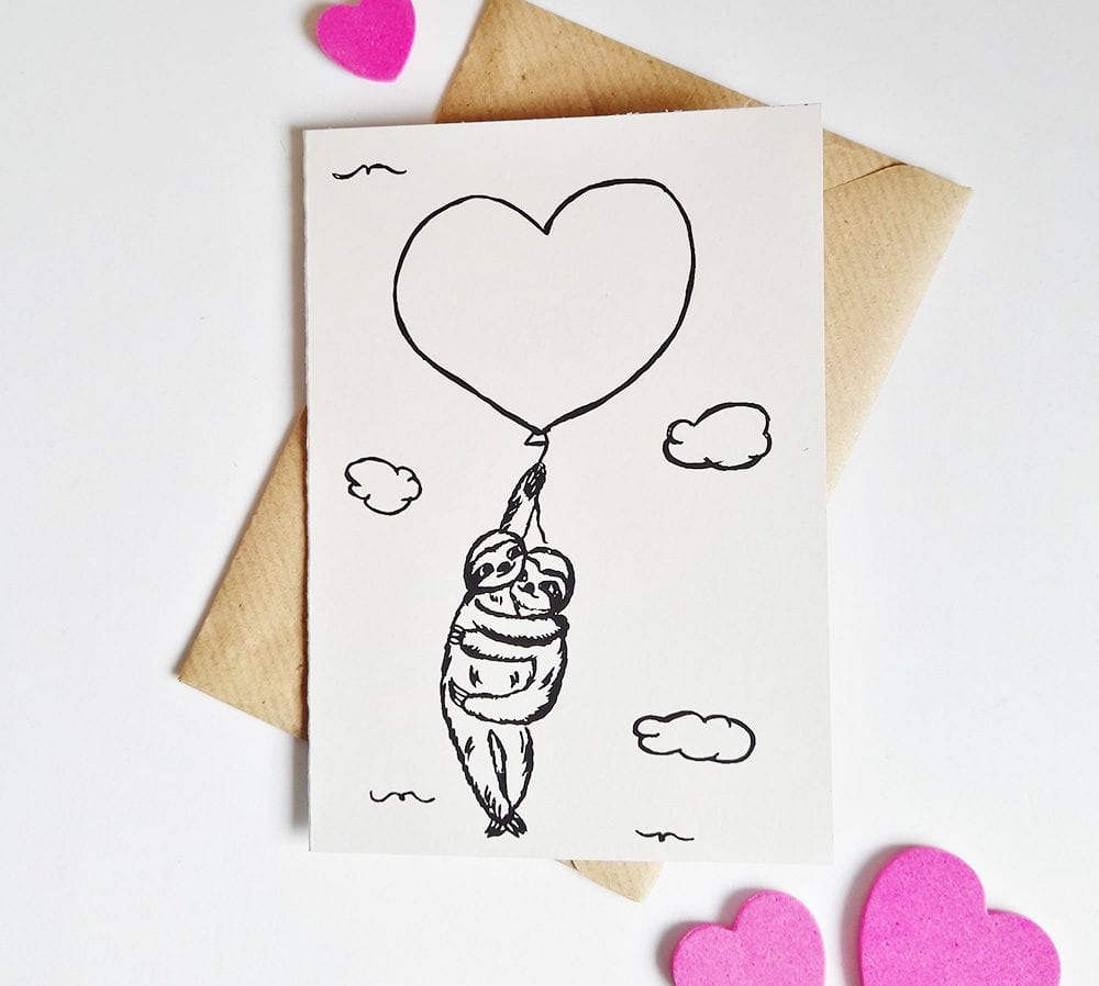 Faultier Klappkarte Liebeskarte Faultiere an Luftballon Siebdruck front