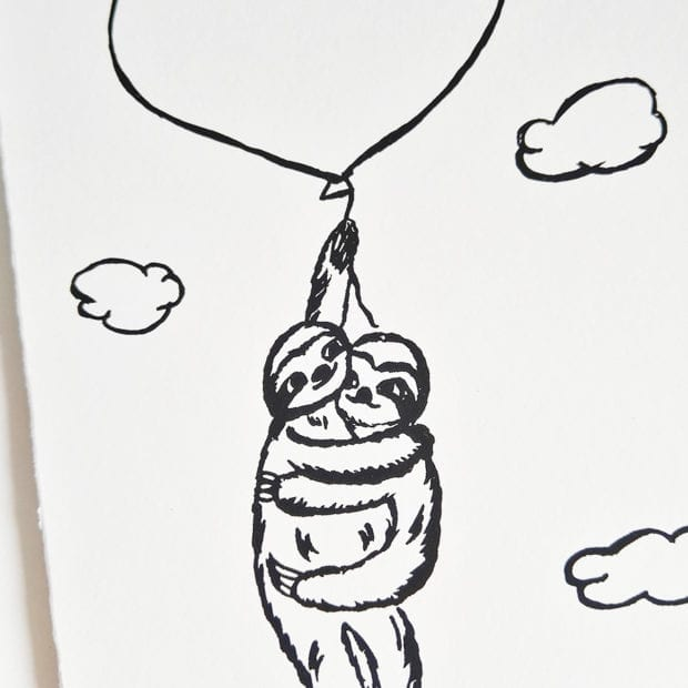 Faultier Klappkarte Liebeskarte Faultiere an Luftballon Siebdruck nah