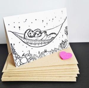 Faultier Klappkarte Liebeskarte Faultiere in Hängematte Siebdruck seitlich mit briefumschlag