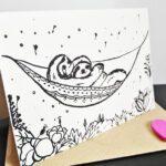 Faultier Klappkarte Liebeskarte Faultiere in Hängematte Siebdruck seitlich mit briefumschlag nah