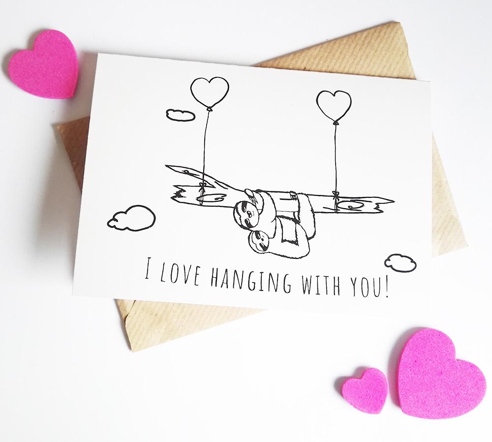 Faultier Klappkarte Liebeskarte I love hanging with you Siebdruck front