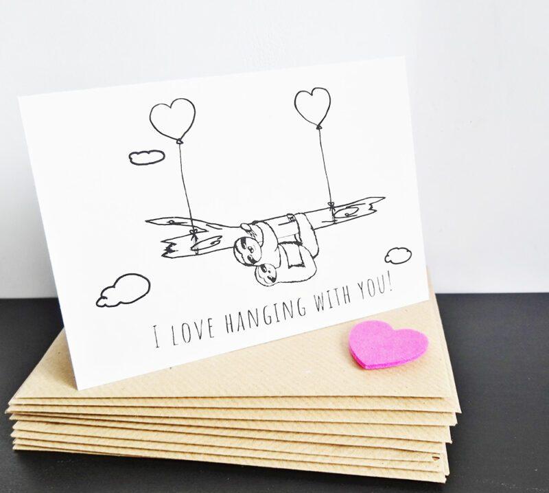 Faultier Klappkarte Liebeskarte I love hanging with you Siebdruck seitlich mit Briefumschlägen