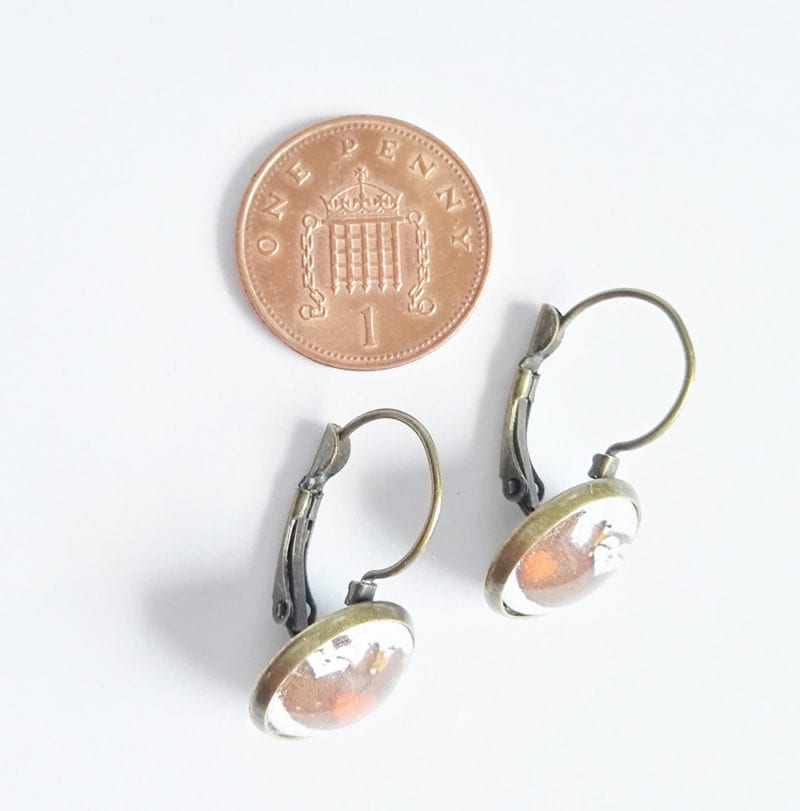 Faultier Ohrring Silber braun mit penny