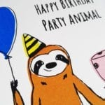 geburtstagskarte-party-animal-gesicht-nah lovely sloth