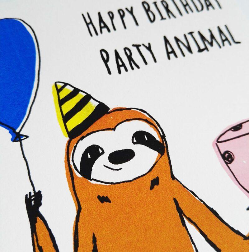 geburtstagskarte-party-animal-gesicht-nah lovely sloth