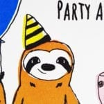 geburtstagskarte-party-animal-gesicht-nahaufnahme lovely sloth