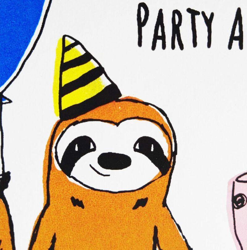 geburtstagskarte-party-animal-gesicht-nahaufnahme lovely sloth