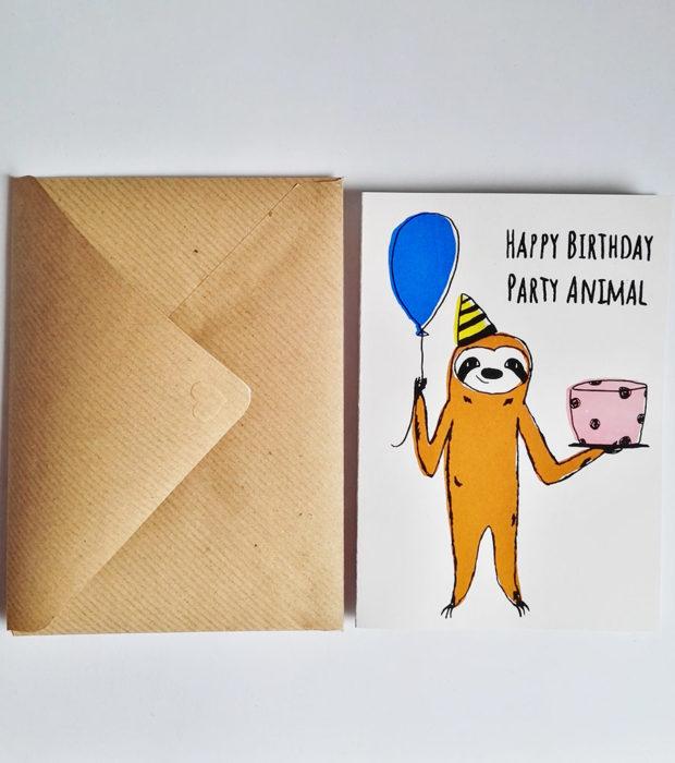 geburtstagskarte-party-animal-mit-umschlag lovely sloth