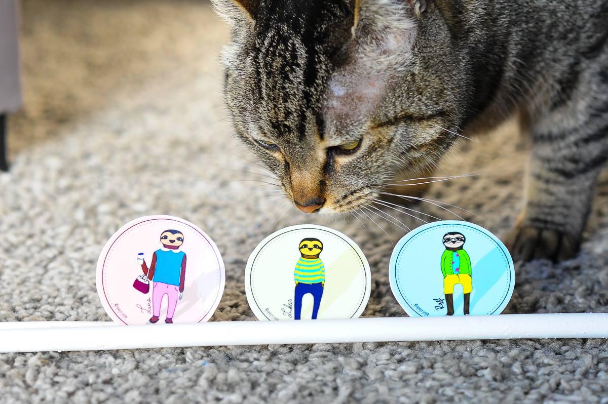 Faultier Sticker und Katze Nina