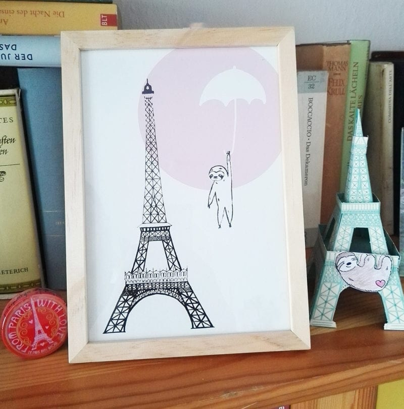 poster-paris-regenschirm-arrangement-regal lovely sloth