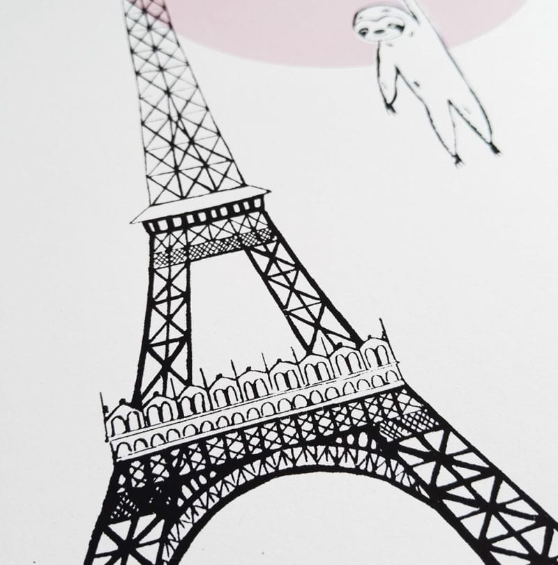 lovely sloth poster-paris-regenschirm-eifelturm-nah