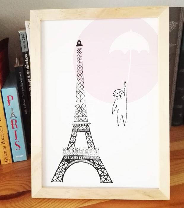 lovely sloth poster-paris-regenschirm-in-regal