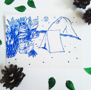 faultier-postkarte-faultiere-beim-zelten-blau-lovelysloth