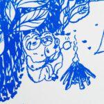 faultier-postkarte-faultiere-beim-zelten-blau-nah-lovelysloth