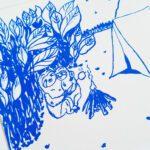 faultier-postkarte-faultiere-beim-zelten-blau-nahaufnahme-lovelysloth