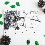 faultier-postkarte-faultiere-beim-zelten-schwarz-lovelysloth
