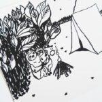 faultier-postkarte-faultiere-beim-zelten-schwarz-nahaufnahme-lovelysloth