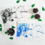 faultier-postkarte-faultiere-beim-zelten-schwarz-und-blau-lovelysloth
