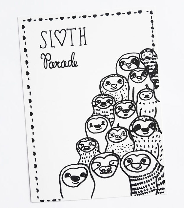 sloth-parade-faultier-postkarte-lovelysloth