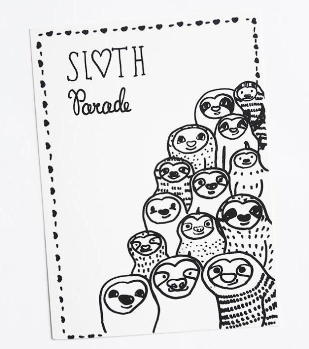 sloth-parade-faultier-postkarte-lovelysloth