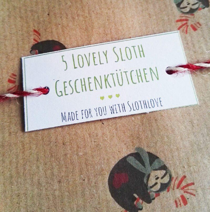 lovelysloth weihnachtsgeschenktuetchen klein 6er pack schildchen